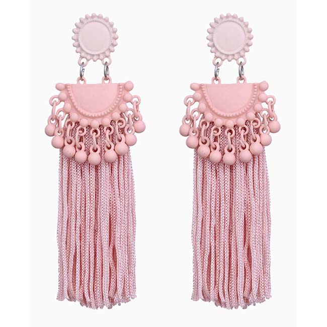 A-FX-E6304 Pastel Pink Long Thick Thread Tassel Korean Earstuds - Click Image to Close