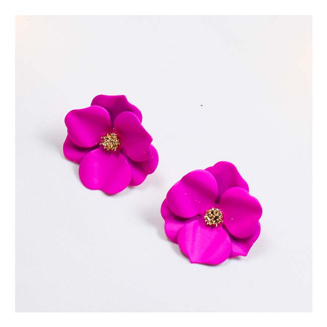 A-FXE300Pink Pink Petite Flower Korean Style Blooming Earstuds - Click Image to Close