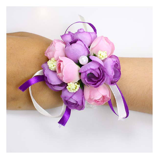 A-GF-purple1 Purple Pink Roses Flower Bracelet Pearl Studded Rib - Click Image to Close