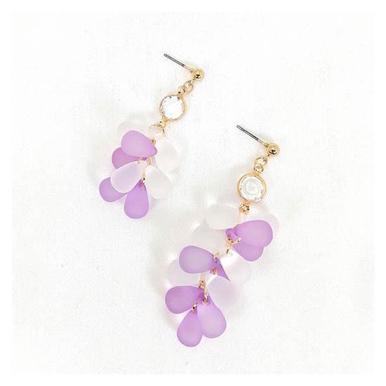 A-GH-ER1405 Korean Resin Purple White Bubble Grape Earrings