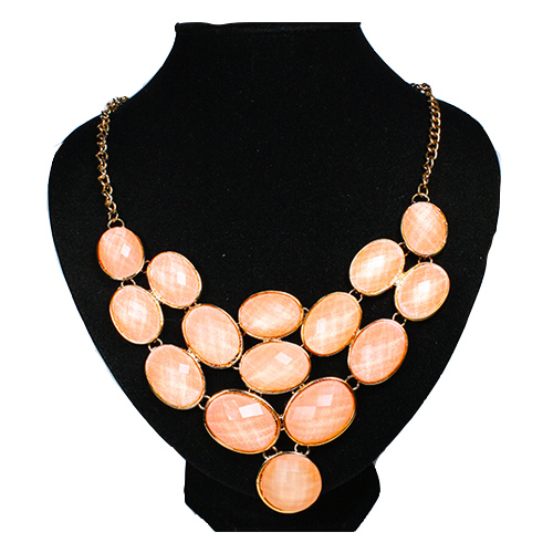 A-H2-X422 Peachy Orange Gem In Glamorous Golden Necklace - Click Image to Close