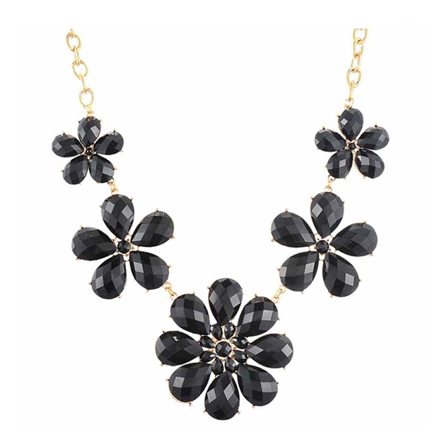 A-H2-X597black Black Large Flowers Beads Diamond Inspired Neckla - Click Image to Close