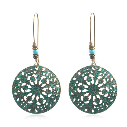 664a8f633dff A-HH-HQEF-026 Vintage Turquoise Flora Pattern Round Hook Earring ...