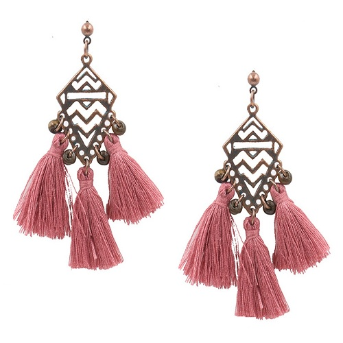 A-HH-HQET-080 Pinkish Tassels Vintage Blue Kite Shape Earstuds - Click Image to Close
