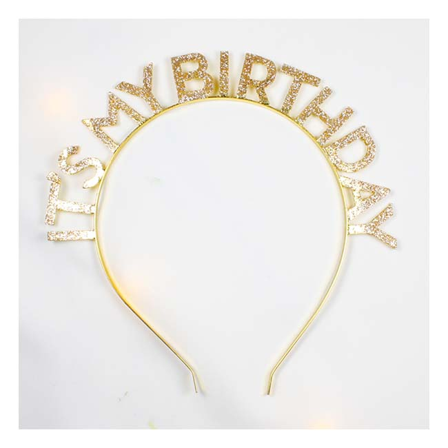 A-JF-FG10255 It's My Birthday Glitter Gold Wording Hairband