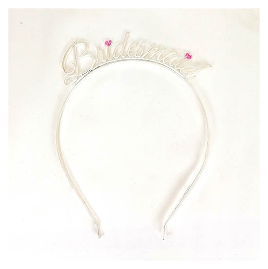 A-JF-HGCsilver Silver Bridesmaid Wording Pink Glitter Headband - Click Image to Close