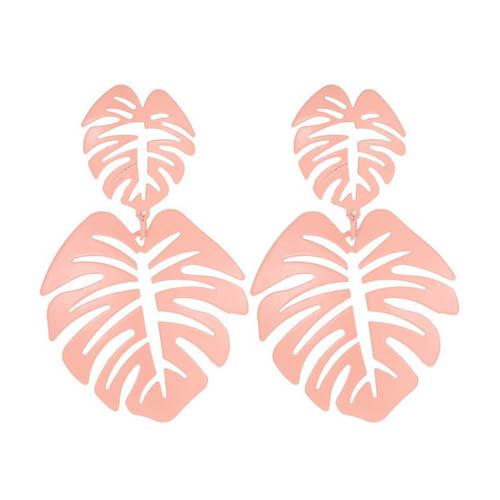 A-JW-11299 Simple Pink Summer Leaves Trendy Fashion Earstuds - Click Image to Close
