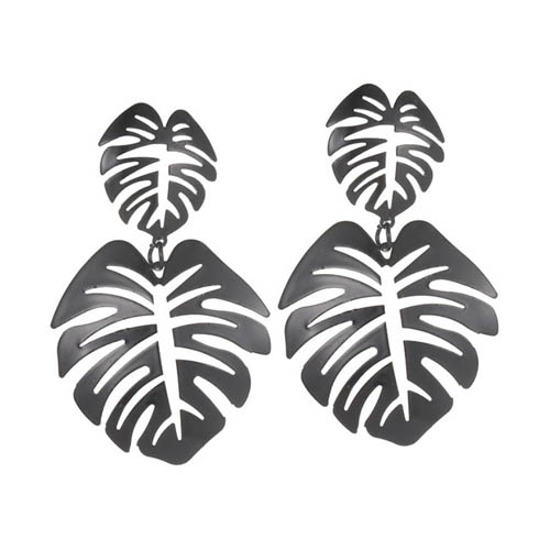 A-JW-11300 Simple Dangling Black Leaves Trendy Fashion Earstuds - Click Image to Close