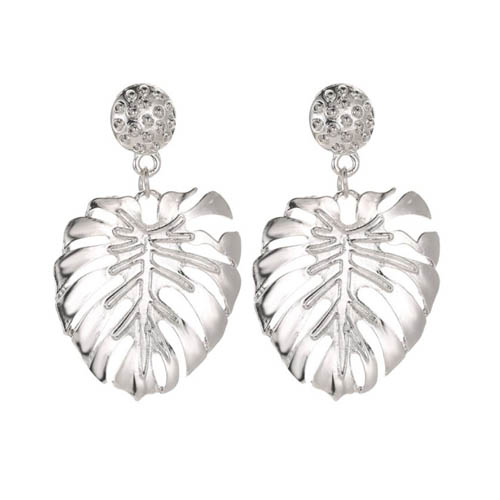 A-JW-1700 Elegant Dangling Summer Silver Leaf Trendy Earstuds - Click Image to Close