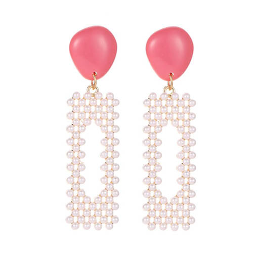 A-JW-4286 Pink Gem With Trendy Pearl With Beads Korean Earstuds - Click Image to Close