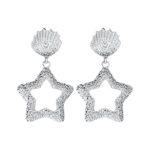 A-JW-4392 Elegant Silver Shells With Star Fashion Trendy Earstud - Click Image to Close