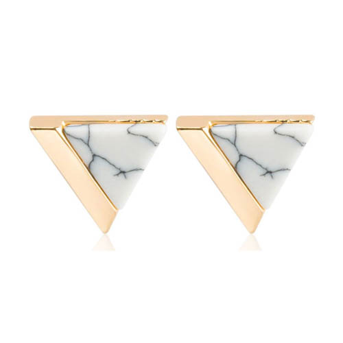 A-JW-6967 Trendy White Triangle Marble Gold Side Fashion Earstud - Click Image to Close