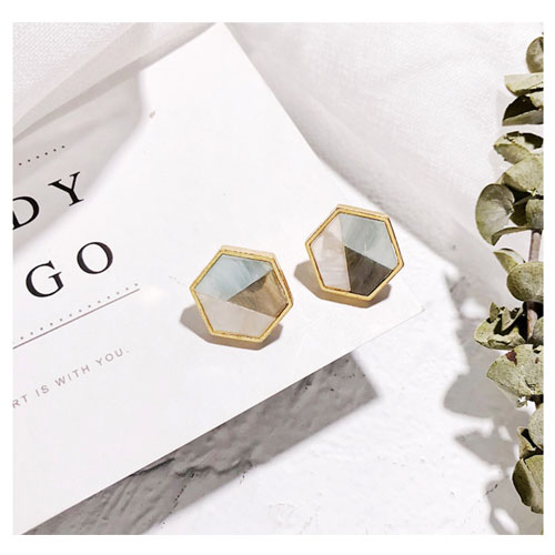 A-LG-ER0572geo Geometry Marble Tricolor Korean Style Earstuds - Click Image to Close