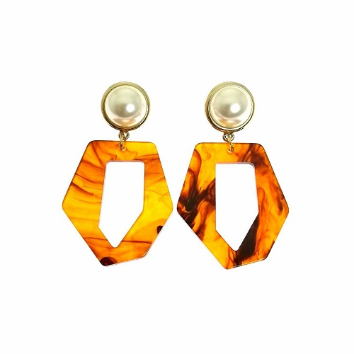 A-LG-ER0661-1-Brown Pearl Enam Shape Earstuds Earrings