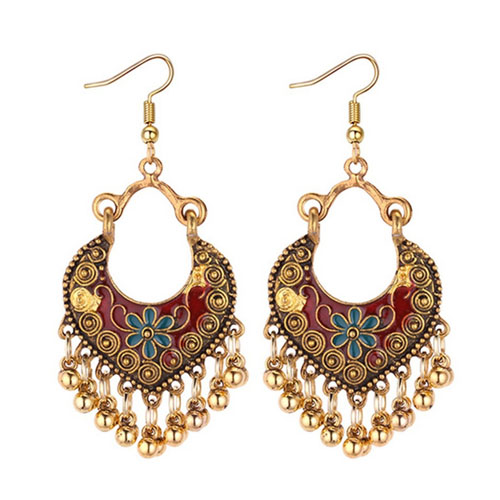 A-MD-E1296(red) Antique Golden Carving & Bells In Red Earrings - Click Image to Close