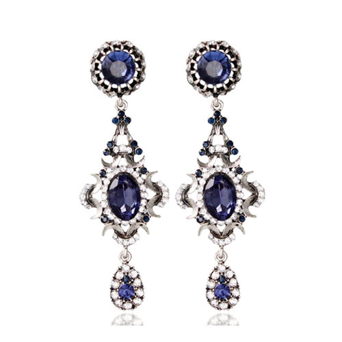 A-MD-E262 Dark Blue Elegant Classy Fashion style Earrings - Click Image to Close