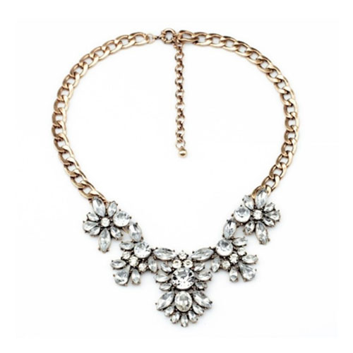 A-MD-N1112 White Crystal Beads Elegant Golden Chain Necklace - Click Image to Close