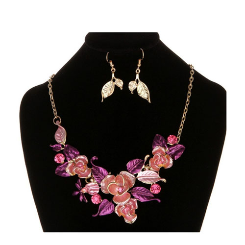 A-MD-X0006 Dusty Pink Rose & Magenta Leaves Statement Necklace - Click Image to Close