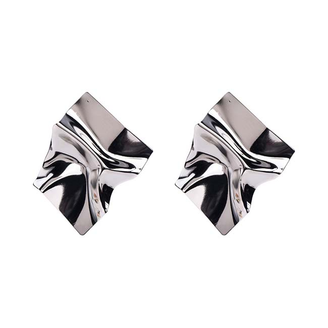 A-MY-0802silve Silver Crumpled Metal Plate Futuristic Earrings - Click Image to Close