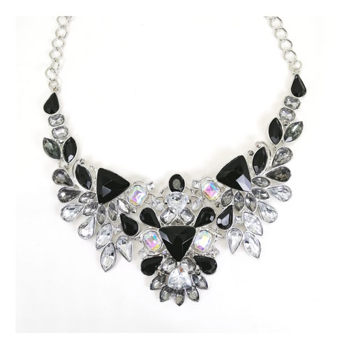 A-QF-JN0102-02 Black & White Gem Crystal Statement Necklaces - Click Image to Close