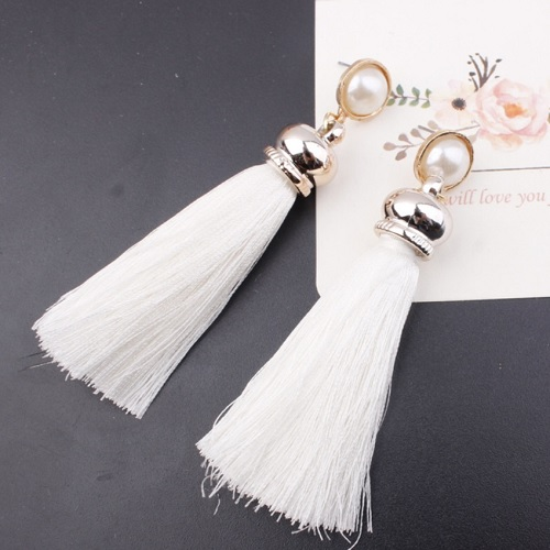 A-SD-EH017WHITE White Tassel White Bead Long Tassels Earstuds - Click Image to Close