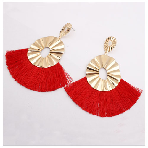 A-SD-XL0162red Wavy Gold Metal Red Spread Tassel Earstuds - Click Image to Close