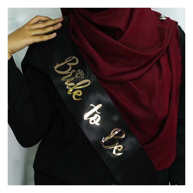 A-AP-003 Black Bride To Be Wording Golden Party Sashes