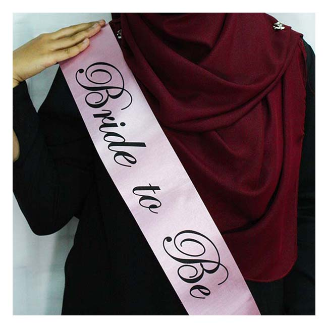 A-SH-005 Pink Bride To Be Black Wording Party Sashes