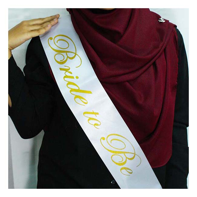 A-SH-006 White Bride To Be Golden Wording Party Sashes