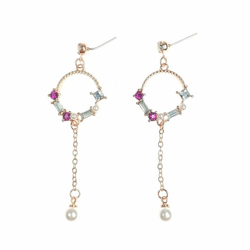 A-TT-110 Gold Pink Dangling Circle Korean Earrings