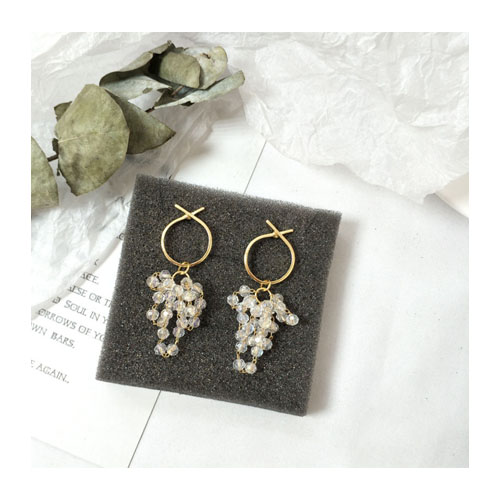 A-TT-972CRYSTAL Korean Dangling Sparkling Crystal Ring Earstuds - Click Image to Close