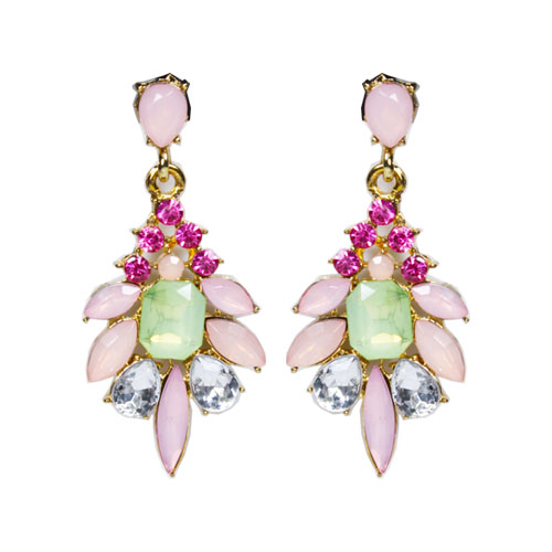 A-UK-102 Pink Green Crystal Beads Korean Elegant Style Earstuds - Click Image to Close