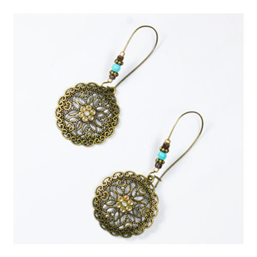 A-UK-106 Classic Carving Copper Flower Circle Design Earrings - Click Image to Close