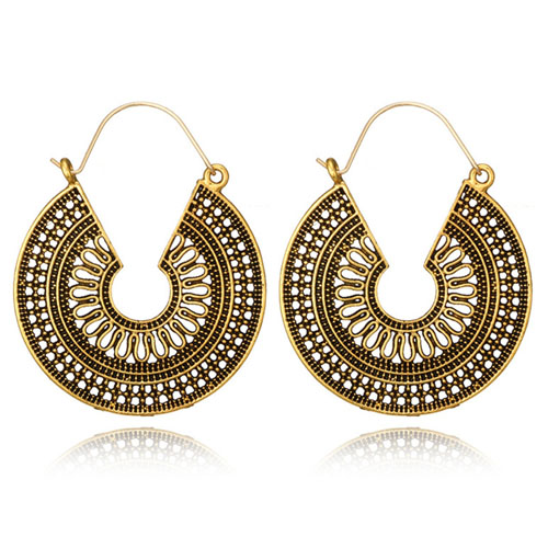 d446e18c2e23 A-YG-5674roundvintage Golden Round Vintage Pattern Hook Earrings ...