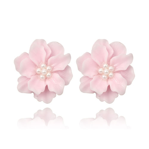 A-YG-5962pink Pink Flower Pearl Beads Korean Style Earstuds - Click Image to Close