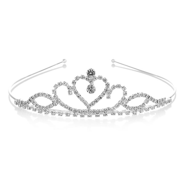 A-YZ-HG0007 Wedding Tiara Love Shape & 2 Eye Crystal Beads - Click Image to Close
