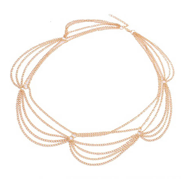 A-ZL-F15 P105191 Dangling Gold Thin Lace Hair Accessories