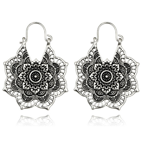 A-yG-5123silver Sliver Flower Mandala Hook Earrings Malaysia - Click Image to Close