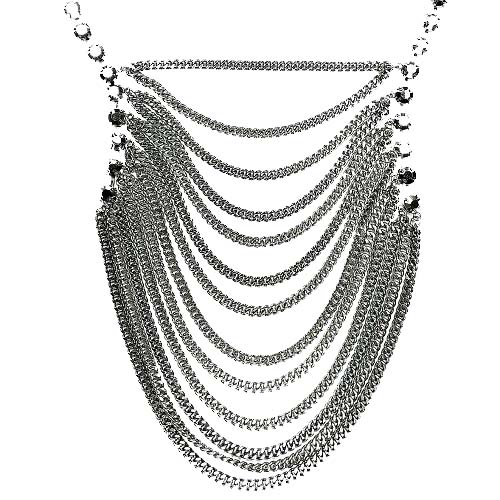 B-MLSF-132- Silver Classic Strip Statement Necklace