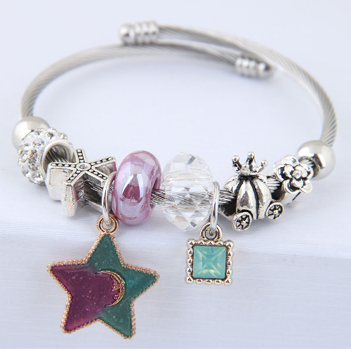 C0150706155 Purple Green Star Galaxy Charm Silver Bracelet - Click Image to Close