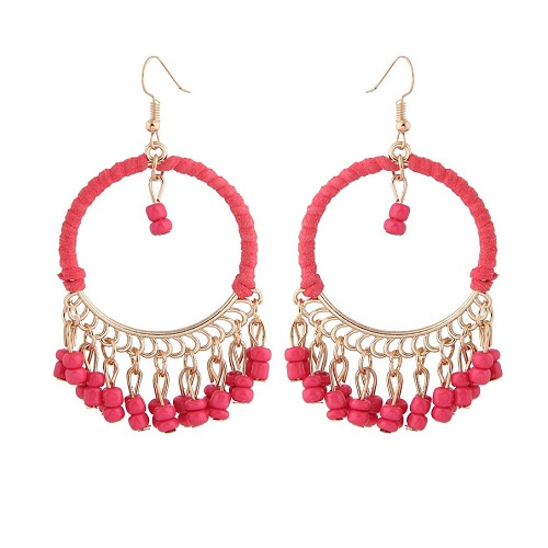 C090526159 Red Beads Dangling Circle Loop Gold Hook Earrings - Click Image to Close