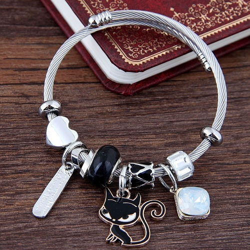 61222ba4c C11040851 Black Cat White Bead Silver Adjust Charming Bracelet ...