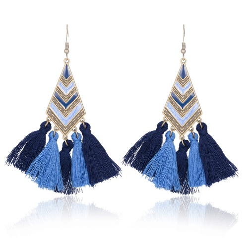 A-CD-ER-170b Navy Blue Triangle Tassel Hook Earrings Wholesale - Click Image to Close