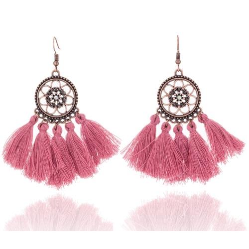 e3fc57990 A-KJ-E020966p Dark Pink Bollywood Flower Tassel Hook Earrings [H0405 ...