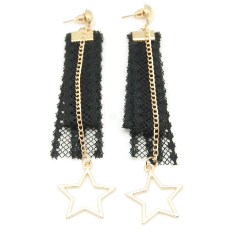 A-GH-ER1154 Dangling Star Charms Lace Korean Inspired Earstuds - Click Image to Close