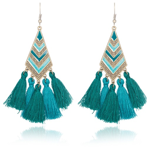 A-KJ-E020277g Green Turquoise Vintage Geometry Tassel Earrings - Click Image to Close