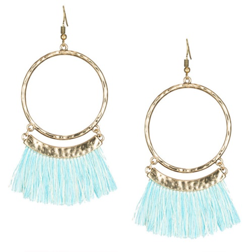 A-KJ-E020336blue Sky Blue White Tassel Round Hook Earrings - Click Image to Close