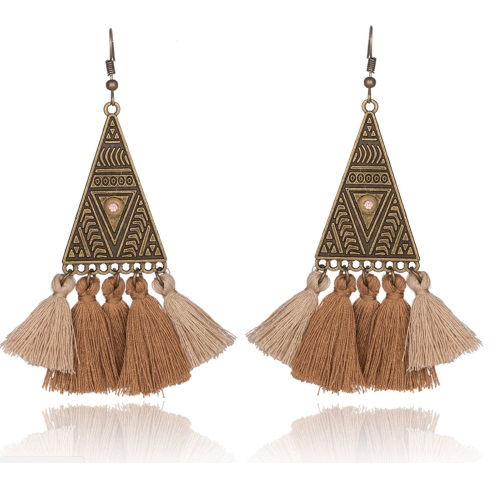 A-KJ-E020296 Brown Beige Vintage Triangle Tassel Hook Earrings - Click Image to Close