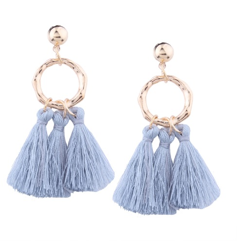 A-QD-E1319g Grey Round Gold Elegant Tassel Inspired Earstuds - Click Image to Close