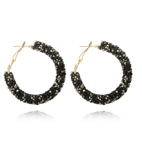 A-SD-XL0790B Black Crystals Bead Korean Inspired Hoop Earstuds - Click Image to Close